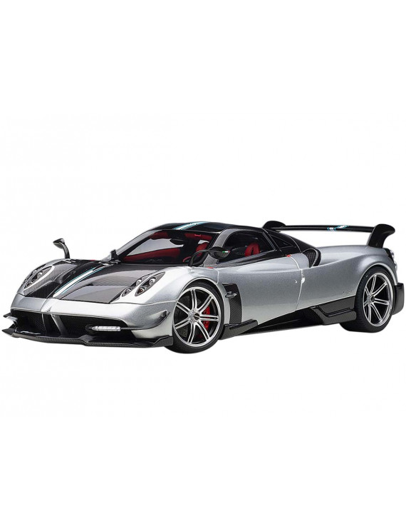 Pagani Huayra BC Grigio Mercurio / Silver Gray and Carbon Fiber with Red Interior 1/18 Diecast Model Car by Autoart