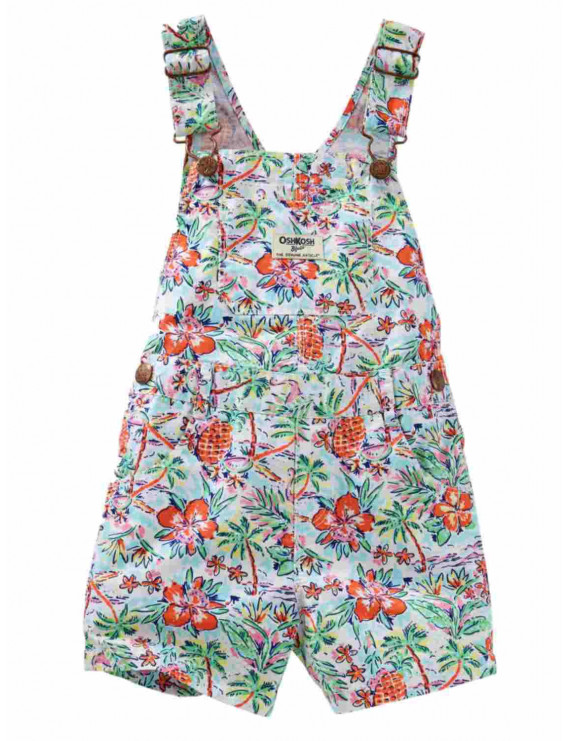Osh Kosh Infant Girls Tropical Print Shortall Short Overalls 3 months