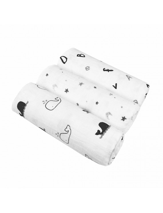 """American Baby Company 100% Natural Cotton Muslin Swaddle Blanket, Black and Gray, 47"""" x 47"""", 3 Count, Soft Breathable, for Boys and Girls"""