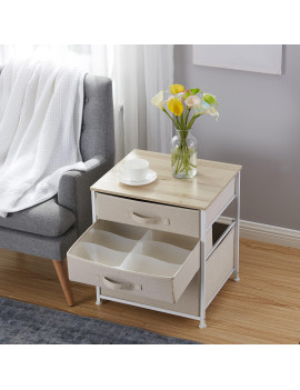 3 Drawer Nightstand Storage Dresser Tower - Maple Wood Top - Sturdy Metal Frame - Linen Fabric Storage Bins with Pull Tabs - Organizer Unit for Hallway, Entryway, Closets and Bedroom-Beige