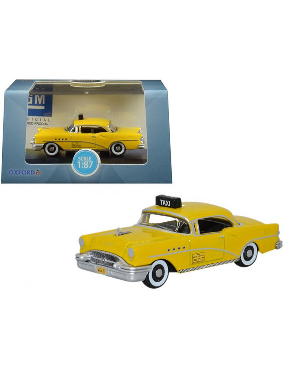 """1955 Buick Century \New York City Taxi\"""" Yellow 1/87 (HO) Scale Diecast Model Car by Oxford Diecast"""""""""""""""