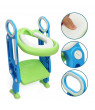 Baby Toilet Ladder Toddler Potty Training Toilet Chair Seat Foldable (Green Blue)