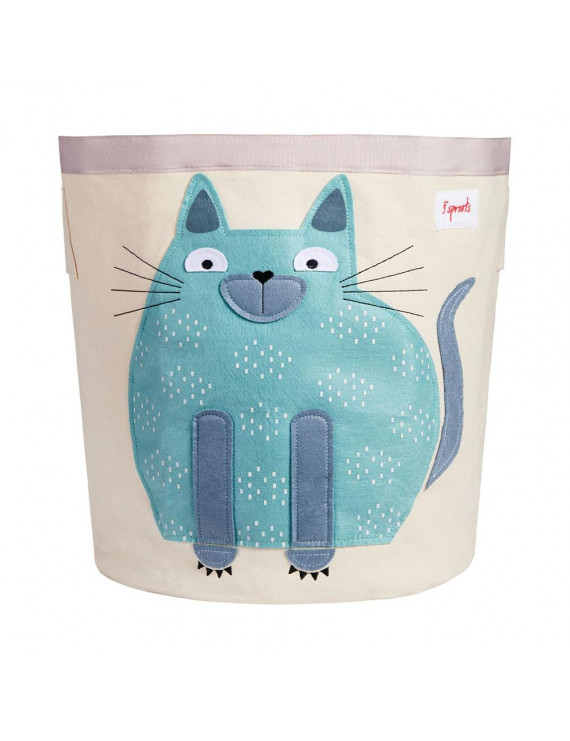 3 Sprouts Canvas Storage Bin Laundry and Toy Basket for Baby and Toddlers, Cat