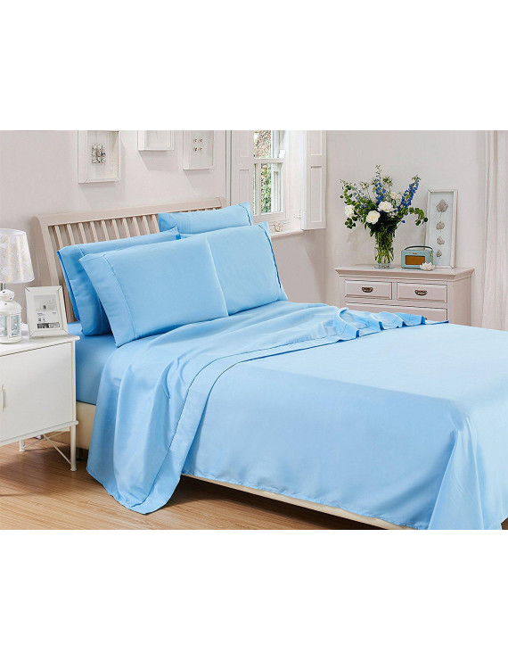 Lux Decor Collection Solids Bed Sheet Set (King, Blue), 4 Piece Deep Pocket 1800 Series Microfiber Bed Sheet Set Contains (1 Fitted Bed Sheet, 1 Flat Sheet, 2 Pillow Covers)