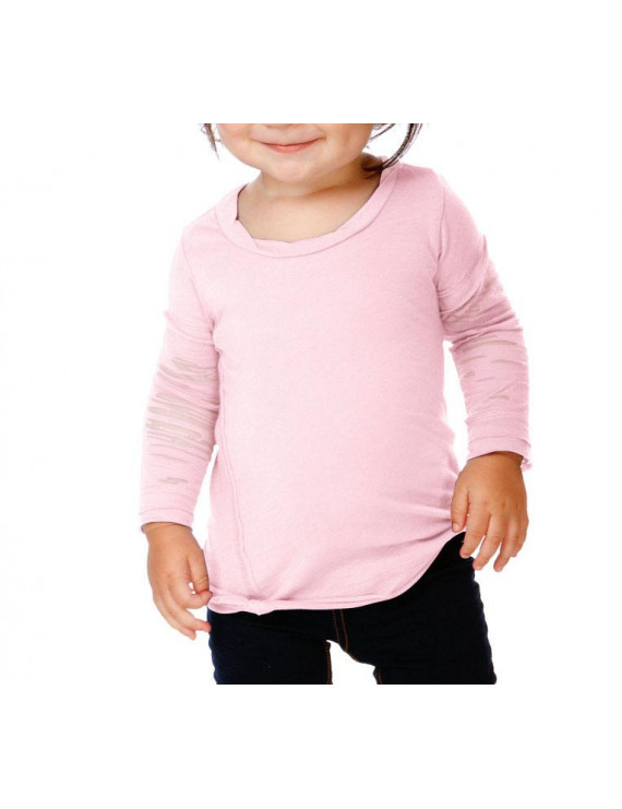 Kavio! Infants Sheer Jersey Raw Edge Twisted Round Neck Two-Fer Burnout Long Sleeve Baby Pink 24M