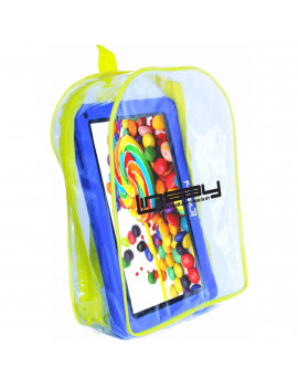 "LINSAY 10.1"" Tablet Kids 2 GB RAM 16 GB Android 9.0 Blue Funny Tablet with Kids Back Pack"