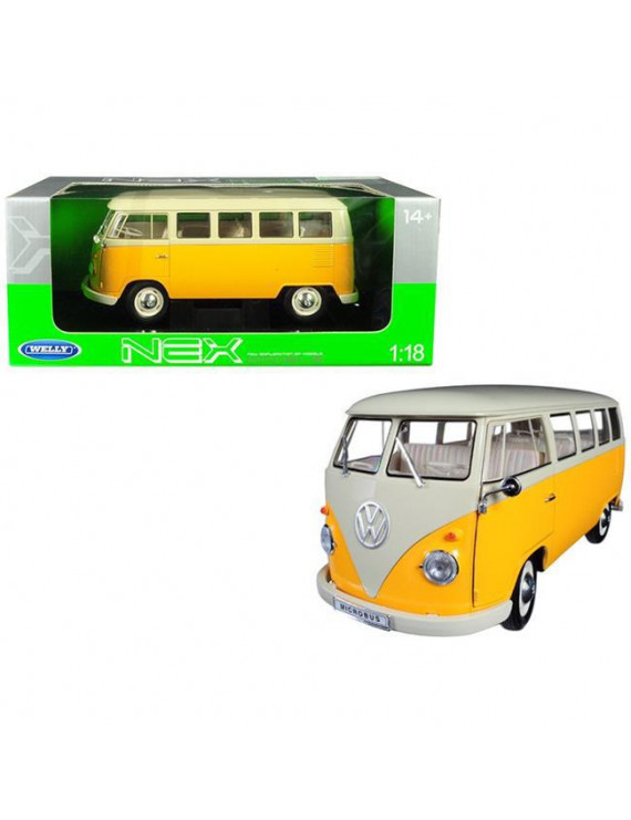 1963 Volkswagen T1 Microbus Yellow and Cream 1/18 Diecast Model by Welly