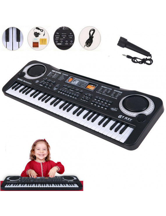 Electronic Piano Children 61 Keys Electric Organ Music Educational Keyboard with Microphone