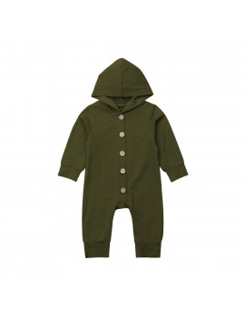 0-2T Infant Baby Boy Girl Hoodie Cotton Hooded Romper Jumpsuit Clothes Outfit