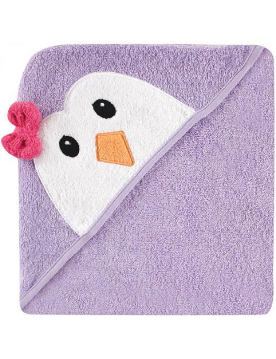 Luvable Friends Cotton Terry Animal Hooded Towel, Purple Penguin