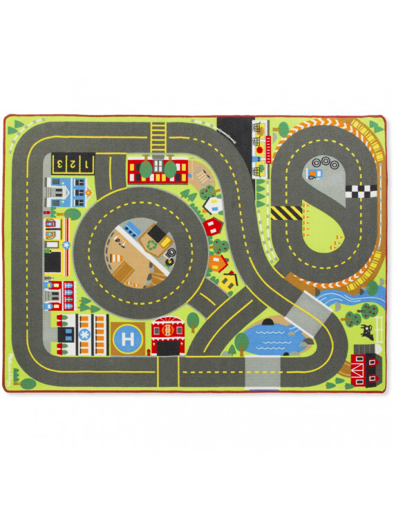 Melissa & Doug Jumbo Roadway Activity Rug With 4 Wooden Traffic Signs (79 x 58 inches)