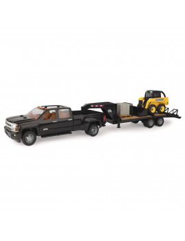 John Deere 1:16 Scale Skidsteer, Trailer and Chevrolet Truck