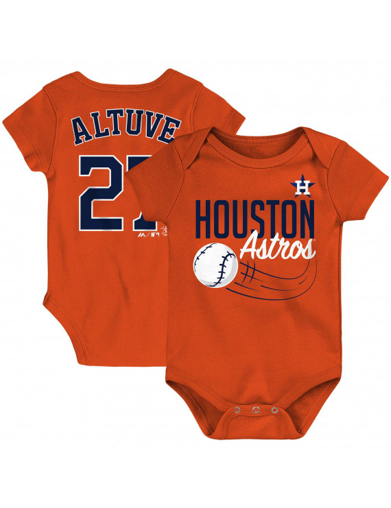 Jose Altuve Houston Astros Majestic Newborn & Infant Baby Slugger Name & Number Bodysuit - Orange