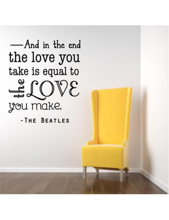 Vinyl Wall Decal: Beatles Love Wall Decal / Song Quote | Music Sticker 20x20 [BB1]