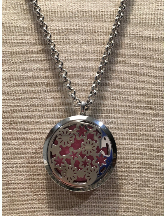 "Essential Oil Pendant hypo-allergenic 316L Surgical Grade Stainless Steel Diffuser Flowers and Stars, Locket with 24"" Chain. 30mm sized locket"
