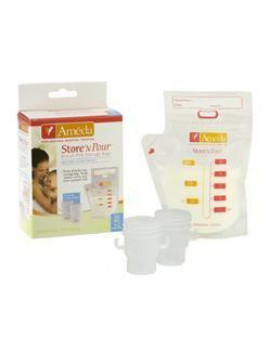 Ameda Store N Pour Breast Milk Storage Bags with Adapters, 20-Count, Resealable Breast Milk Storage Bags with Easy-Pour Spout for Storing Breast Milk in Refrigerator or Freezer