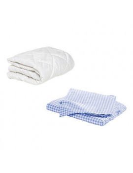 BKB Toddler Mattress Protector and 2 Gingham Sheets, Light Blue