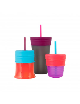 Boon Snug Silicone Sippy Cup Lids & Straws Make Any Cup A Sippy Cup, Pink, Purple & Blue, 3 Pk