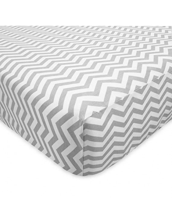 TL Care 100% Cotton Flannel FItted Crib Sheets, Grey