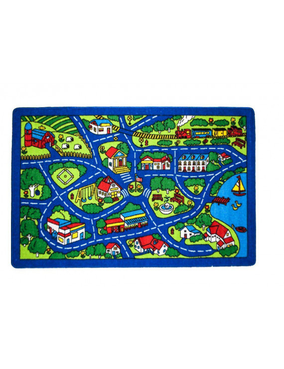 Kids Rug Street Map Blue Childrens Fun Learning Carpet 8' X 10'