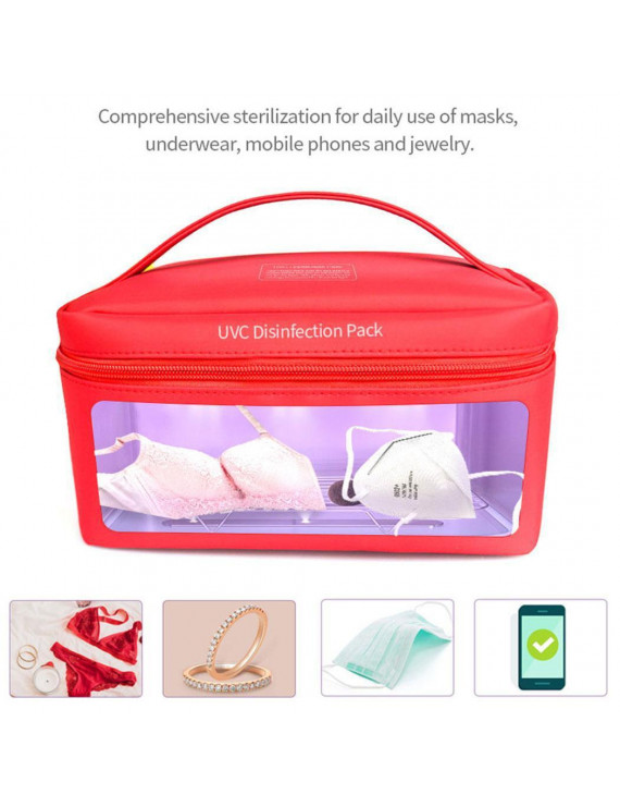 Portable UV LED Sterilizer Bag,99% Cleaned UV Disinfection Box for Jewelry, Beauty Tools,Face Mask,Underwear