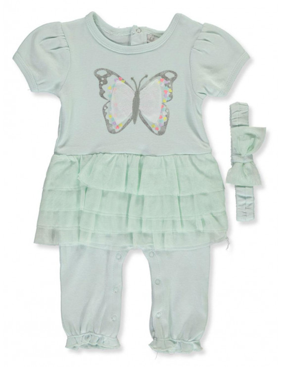 Quiltex Baby Girls' Tutu Butterfly 2-Piece Outfit With Headband (Newborn)