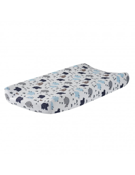 Lambs & Ivy Signature Montana Blue/Gray/Brown Bear Changing Pad Cover