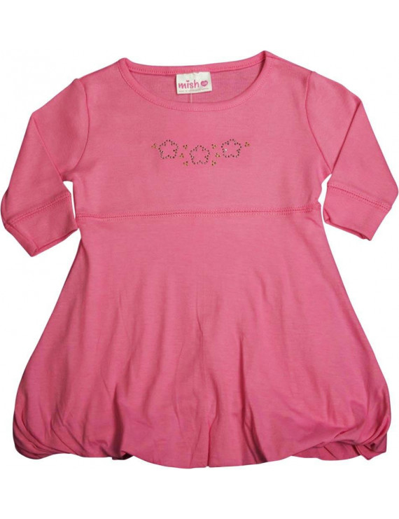 Mish - Baby Girls - 100% Cotton - Long Sleeve Bubble Dress Pink / 12 Months