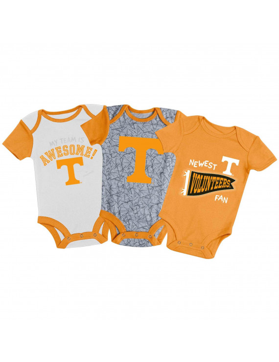 Newborn & Infant Russell Athletic Tennessee Orange/White/Gray Tennessee Volunteers 3-Pack Team Bodysuit Set