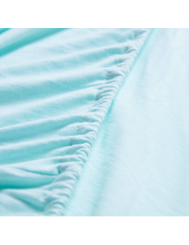 100% Cotton Jersey Crib Fitted Sheet - Aqua