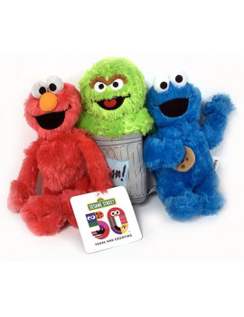 Sesame Classic 8 Inch Plush Toy Set of 3 Cookie Monster, Elmo, Grouch