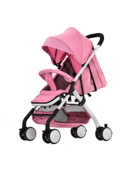 Airplane Baby Stroller One Step Fold Lightweight Convertible Baby Carriage with 5-Point Safety Harness Multi-Positon Reclining Seat Extended Canopy for Infant Toddler Pink
