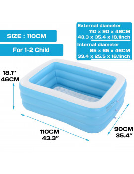 2020 New Adults Kids Pool Bathing Tub Outdoor Indoor 110-350 CM Blue Thick Inflatable Swimming Pool
