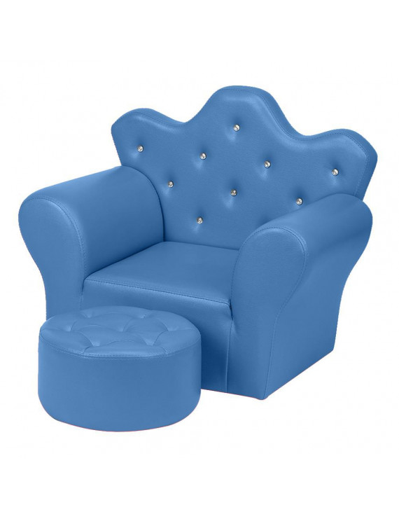 Zimtown Princess Upholstered Armrest Chair Kid Sofa Couch w/ Ottoman, Blue