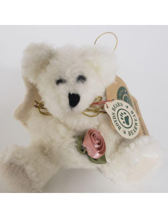 Boyds Bears Plush Ornament - Annette Bearberg - White Angel Bear 6""