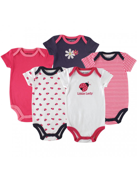 Luvable Friends Baby Girl Bodysuits 5-pack