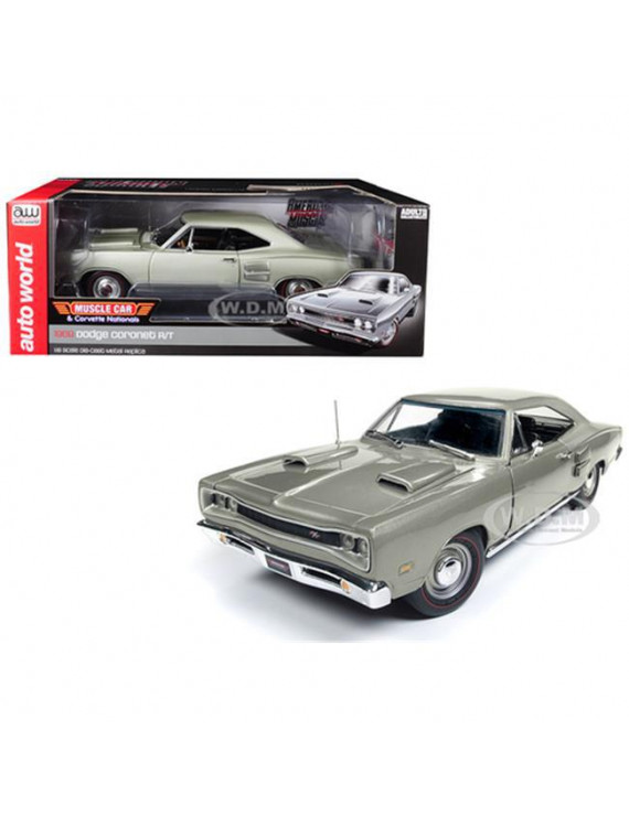 """1969 Dodge Coronet R/T Silver """"MCACN"""" Limited Edition to 1002 pieces Worldwide 1/18 Diecast Model Car by Autoworld"""