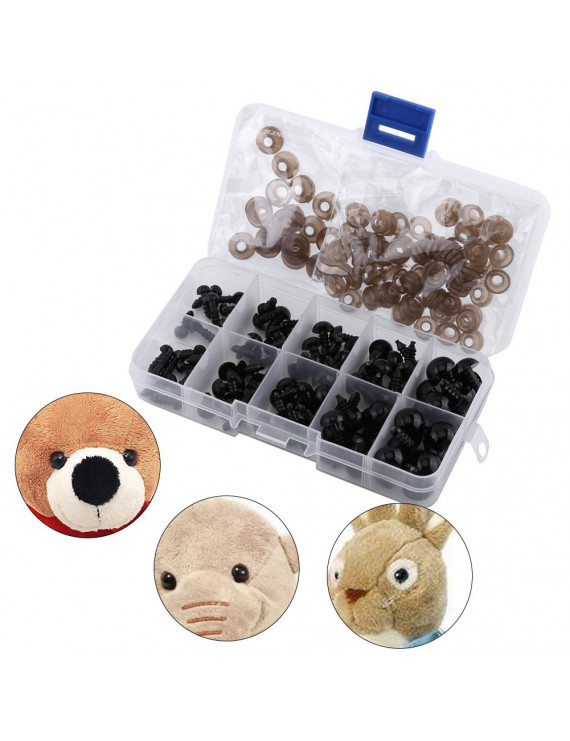 WALFRONT 100pcs Black Plastic Toy Eyes for Puppets Dolls Crafts 6-12mm with Gasket, Toy Accessory, Toy Eyes
