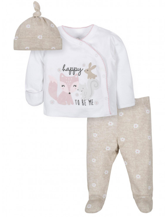 Wonder Nation Baby Girl Outfit Take Me Home Shirt, Cap & Footed Pant, 3-Piece Outfit Set
