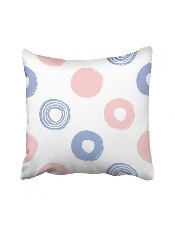 ARTJIA Pink Modern Kids Colored With Circle Dot Line Graphic With Tender Cute Minimalistic Blue Pillowcase Throw Pillow Cover Case 16x16 inches
