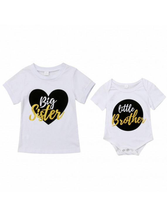 Infant Baby Little Brother Romper Big Sister T-shirt Match Clothes Outfit Set