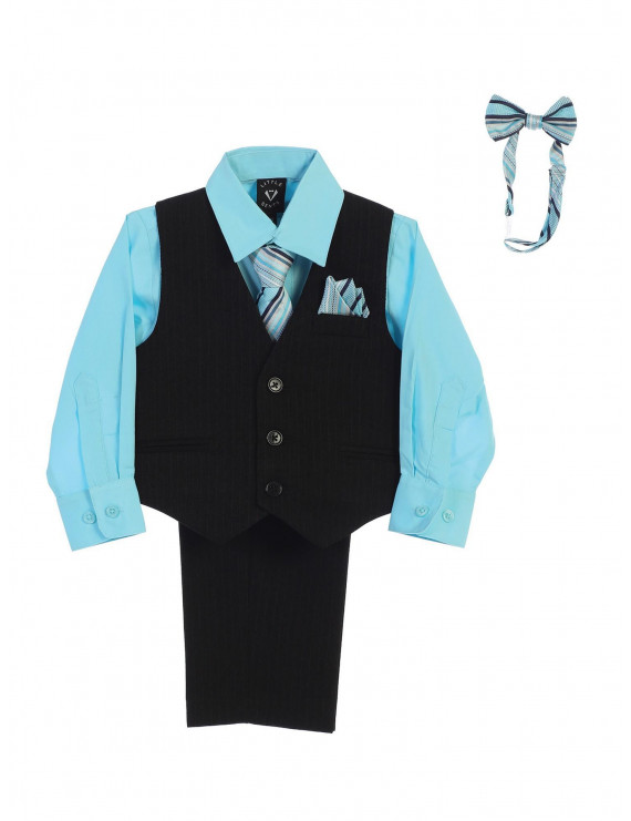 Lito Baby Boys Hawaiian Blue Shirt Zipper Tie Bow Tie Vest Pant Set