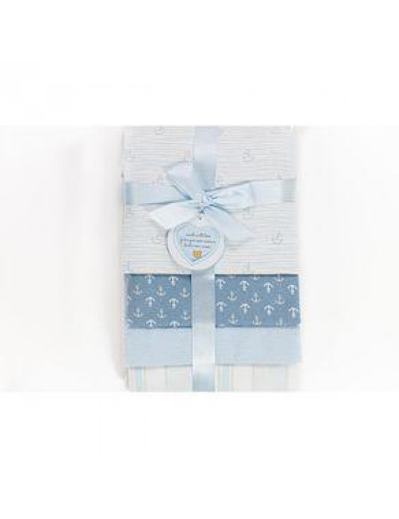 Piccolo Bambino 4pk Blue Baby Boy Receiving Blanket