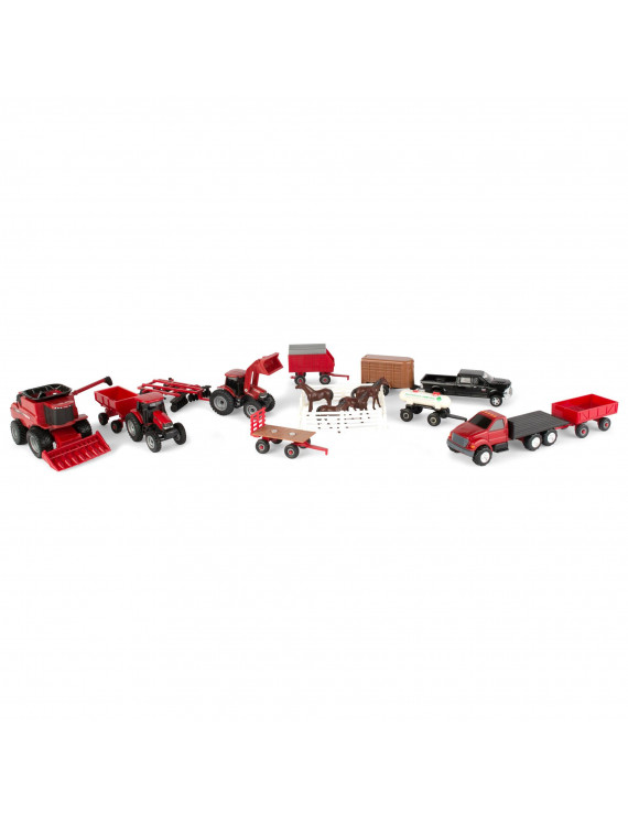 Case 1:64 Scale Toy Tractor Vehicle Value Set - Includes Animals, and Accessories, 20 Pieces
