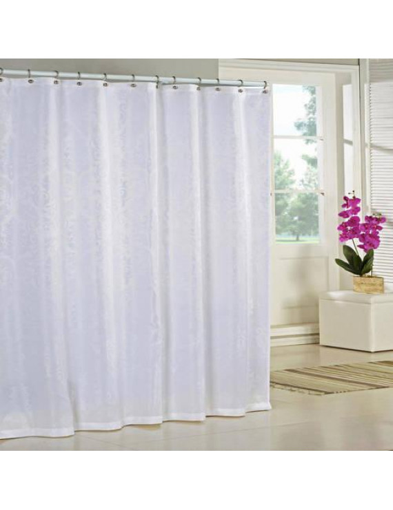 Kelly 70 in. W x 72in. L Polyester Shower Curtain in White