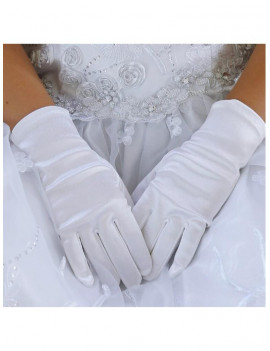 Angels Garment Baby Girls White Short Elegant Flower Girl Gloves 0-3M