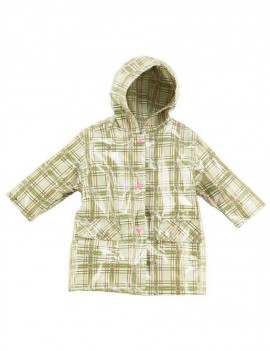Pluie Pluie Little Girls Green Size 6-6X Plaid Raincoat Outerwear