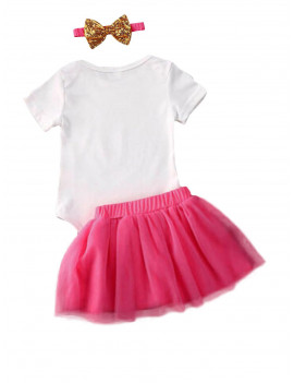 Baby Girl Easter 1st Birthday Outfit Party Clothes Romper +Mesh Skirts +Headband