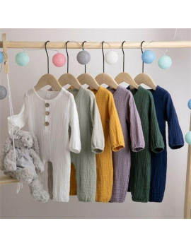 2019 Baby Spring Autumn Clothing Newborn Baby Boy Girl Long Sleeve Romper Cotton Solid Jumpsuits Sunsuit Outfit Set Clothes