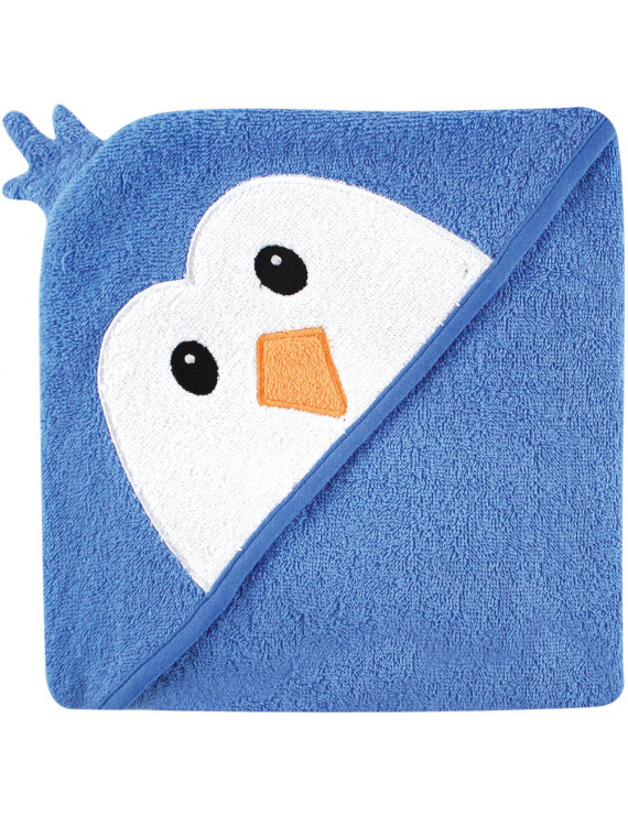 Luvable Friends Cotton Terry Animal Hooded Towel, Blue Penguin